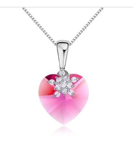 Colar Feminino Coração Cristal Swarovsk Rosa 22823