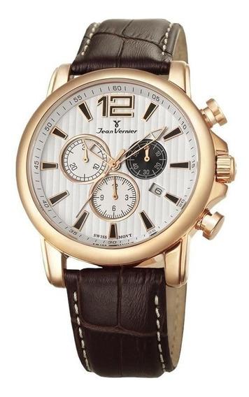 Relógio Jean Vernier Masculino Ref: Jv1113 Cronógrafo Rosé