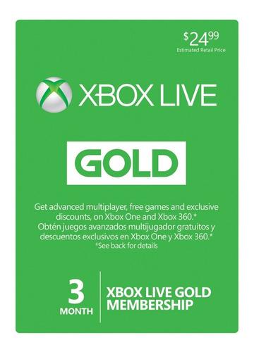 Xbox Live Gold 3 Meses Membresia Entrega Rapida Codigo Globa
