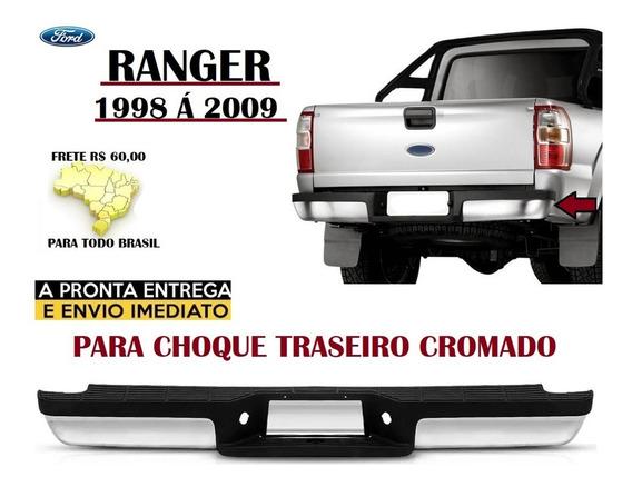 Parachoque Traseiro Ford Ranger 2005 Cromado E Com Pisante