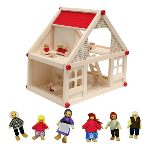 Casa De Muñecas De Madera Muebles Niñas + Set  Familia