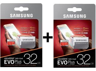 2x Micro Sd Samsung Evo Plus 32gb 95mb/s Com Adaptador