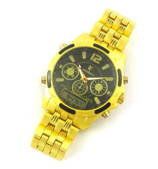 Relógio Masculino Potenzia De Pulso Com Pulseira Metal B5645