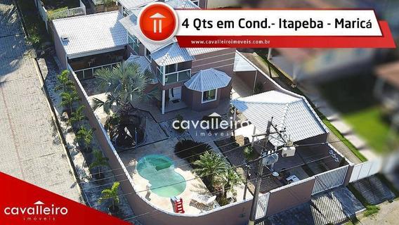 Casa Com 4 Dormitórios Com Vista Para A Lagoa, 236,66 M² - Itapeba - Maricá/rj - Ca1999