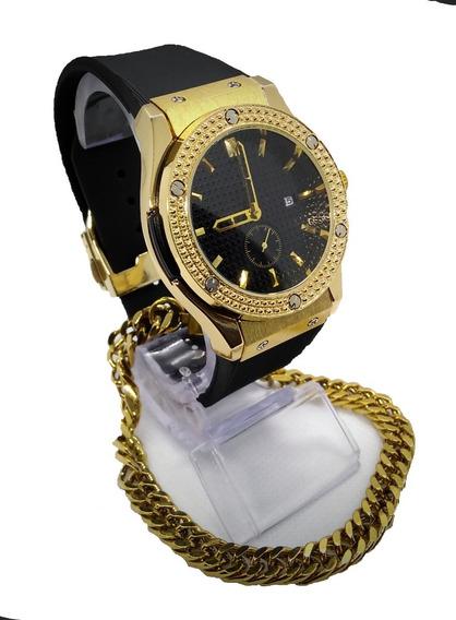 Kit Relógio Masculino Dourado E Preto Executivo + Pulseira