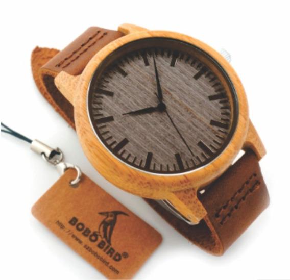 Relógio Unissex Bambu Madeira Analógico Bobo Bird