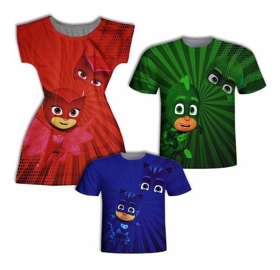 Camisas Pai E Filho + Vestido Mãe - Herói Colors