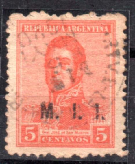 Argentina 1918. 5c. C/sobrecarga M. I. I. Usado En La Plata
