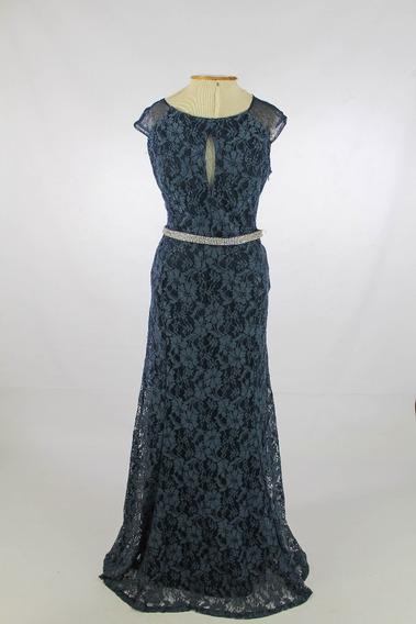 Vestido De Festa Longo Em Renda Azul Petróleo Cinto Strass M