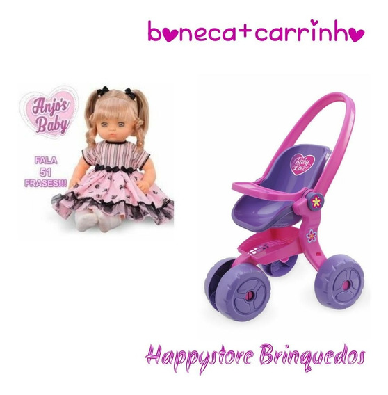 Boneca Anjos Baby Loira + Carrinho Boneca Usual Brinquedos
