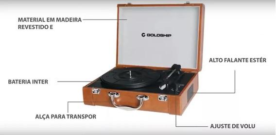 Vitrola Toca Discos Retro Nostalgic Portátil Marrom