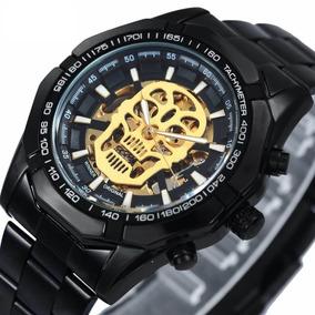 Relógio Preto Masculino Automático Caveira Esqueleto Natal