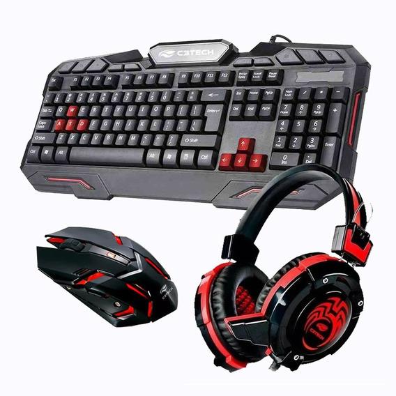 Kit Gamer Teclado Mouse Logitech Acessorios Pc Headset Combo