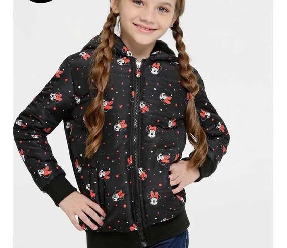 Jaqueta Infantil Puffer Estampa Minnie Disney