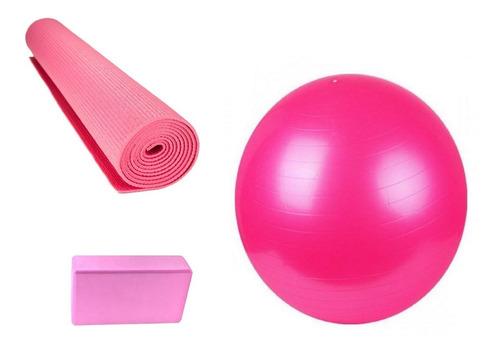 Set Yoga Pilates Mat Colchoneta Pelota Esferodinamia + Brick