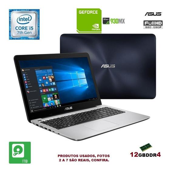 Notebook Asus Gamer I5 7ª Geração 12gb/ 1tb/ Gforce 930m 2gb