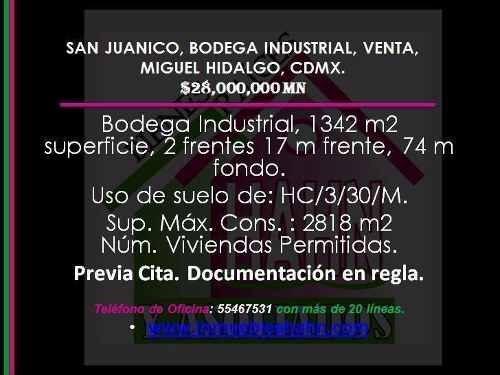 San Juanico, Bodega Industrial, Venta, Miguel Hidalgo, Cdmx.