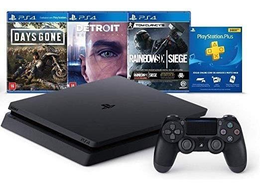 Console Playstation 4 Slim + 3 Jogos - Ps4 Envio Imediato!