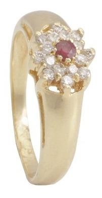 Anel Flor 16 Brilhan 1 Pedra Natural C/ Galeria Em Ouro 18k