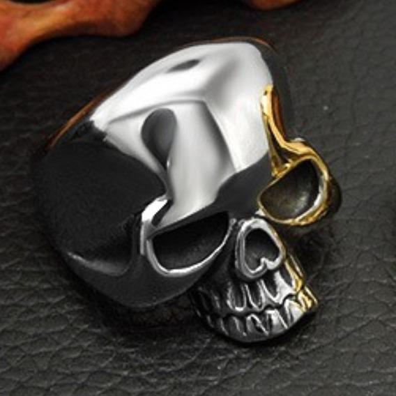 Anel Aço Inox Caveira Moto Punk Masculino Metal Lxbr A105