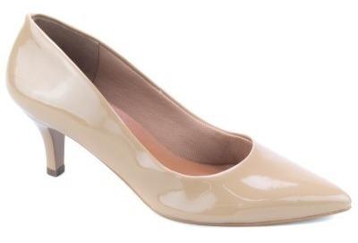Sapato Scarpin Feminino Verniz Cor Creme Nude 6 Cm Altura