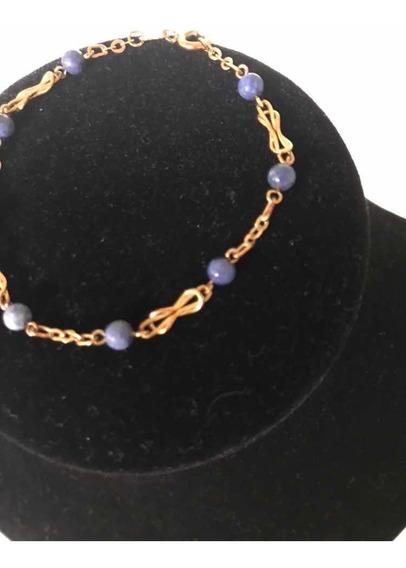 Pulseira Ouro18k/750 (3,3g) Maciça C/bolinhas Lápis-lázuli