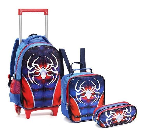 Kit Mochila Escolar Infantil Dark Spider Rodinhas Masculina