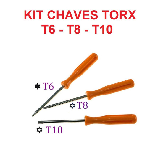 Kit Chaves Torx T6 T8 T10 P/ Abrir Ps3 Ps4 Xbox 360 Xbox One