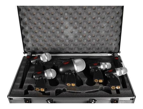 Kit De Microfones Leacs Lc7 Para Bateria 7 Peças Com Case