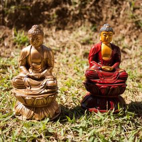 Buda Magro Tailandia Lotus Meditando Kit Par + Brinde