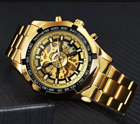 Relógio Masculino Winner Banhado A Ouro A Prova D