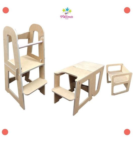 Torre De Aprendizaje 2 En 1 Con Silla Montessori