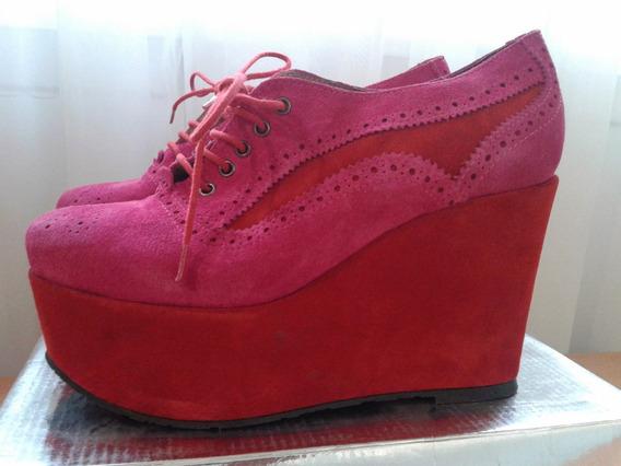 Zapatos Abotinado Gamuza Sarkany Roja Y Fuxia Naivas T 39