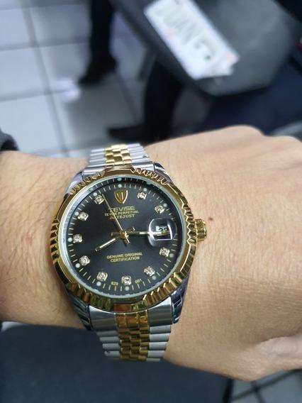 Reloj Nuevo Automatico Tevise Dayjust Dorado Acero