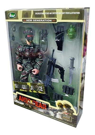 Boneco Soldado Militar Articulado 28cm Arma + 12 Acessórios