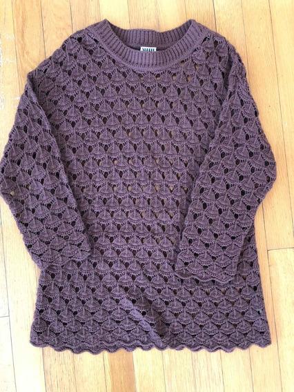 Sweater Calado Marrón Chocolate. Importado