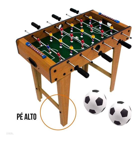 Mini Mesa Pebolim Infantil Totó Pé Alto 60 Cm 18 Jogadores
