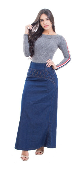 Saias Longa Jeans Kit Com 3 Saias