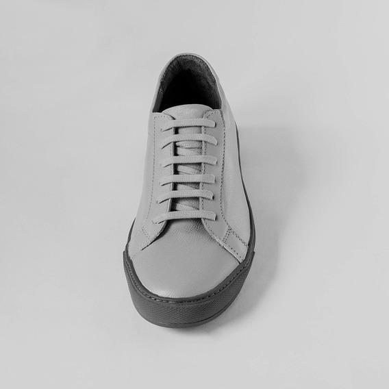 Tenis Zapatos Sneakers 100% Cuero Informal Gris Gray