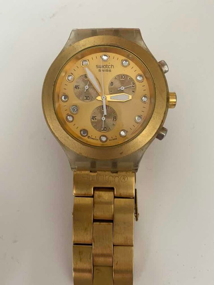 Relógio Dourado Irony Diaphane Swatch Usado