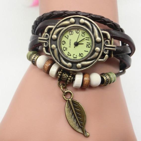 Vintage Multicamada Pulseira De Couro Relógio De Pulso Senho