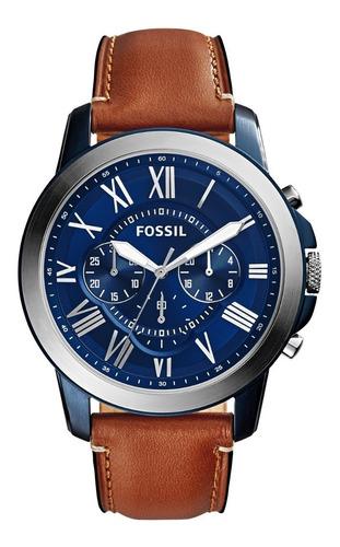 Imagen 1 de 7 de Reloj Caballero Fossil Fs5151 Color Café Claro De Piel