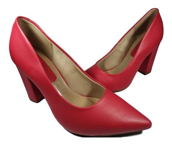 Sapato Beira Rio Vermelho Bico Fino Salto Grosso Quadrado