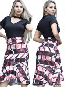 Conjunto Camisa + Saia Midi Godê Moda Evangelica