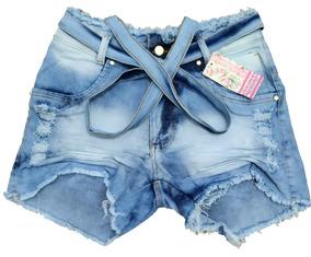 Roupas Femininas Shorts Jeans Plus Size C/lycra Laço 44ao54