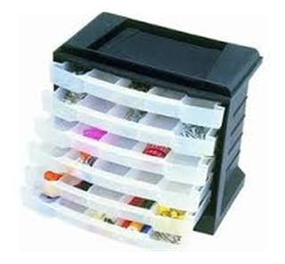Caixa Gaveteiro Plástico Organizador Multiuso Com 6 Gavetas