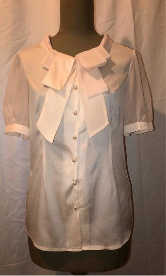 Camisa Con Lazo Moño Y Botones Perlados Color Nude - M