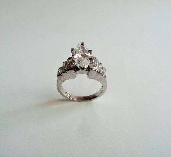 Anel Prata 925 Tido Solitário Com Pedras De Zirconia Branca