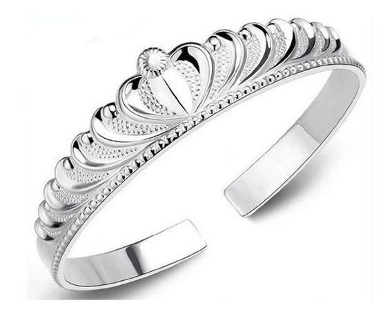 Pulseira Em Formato Coroa Banhada Prata 925 Bracelete Lindo