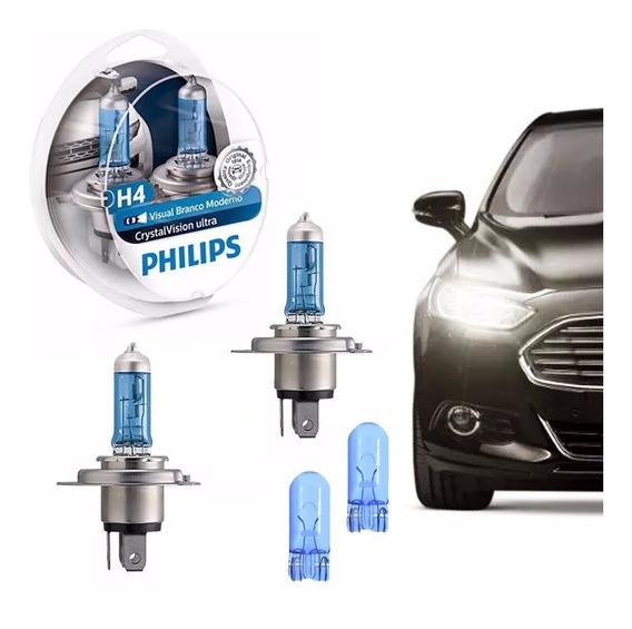 Lâmpada Philips Crystal Vision Ultra H4 Super Branca+pingos